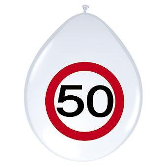 Balloon of balloons 8 St. traffic sign number 50 birthday 30 cm decoration party