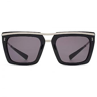 Hook LDN Chambers Metal Brow Square Premium Acetate Sunglasses In Black