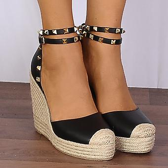 Shoe Closet Black Studded Wrap Round Canvas Wedged Platforms Wedges Strappy Sandals