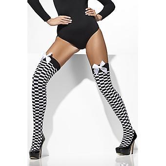 Stockings formula 1 black white checkered Overknees sexy