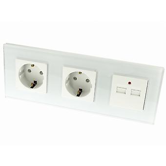I LumoS Luxury White Glass Double German EU 16A Schuko + 2.1A USB Triple Socket