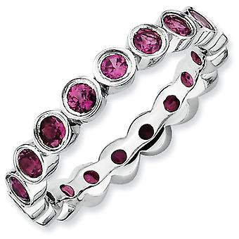 Sterling Silver Stackable Expressions Rhodolite Garnet Ring - Ring Size: 5 to 10