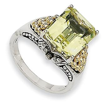 Sterling Silver With 14k 4.00Lemon Quartz Ring - Ring Size: 6 to 8