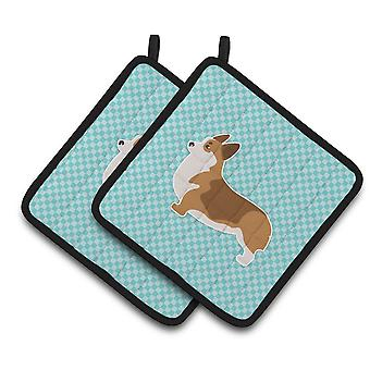 Carolines Treasures  BB3720PTHD Corgi Checkerboard Blue Pair of Pot Holders