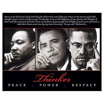 Thinker (Trio) Peace Power Respect Poster Print (10 x 8)