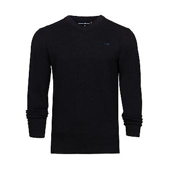 V-Neck Cott/Cash Sweater - Black
