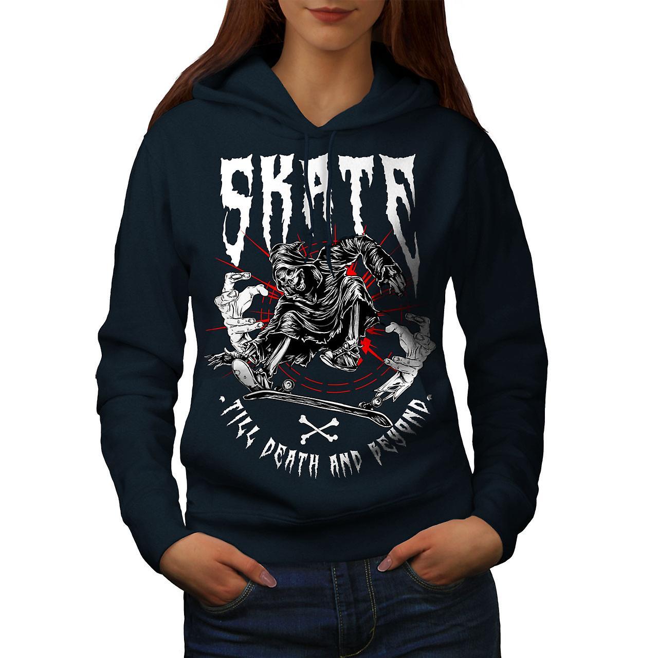 Skate Grim Reaper Horror Women NavyHoodie   Wellcoda