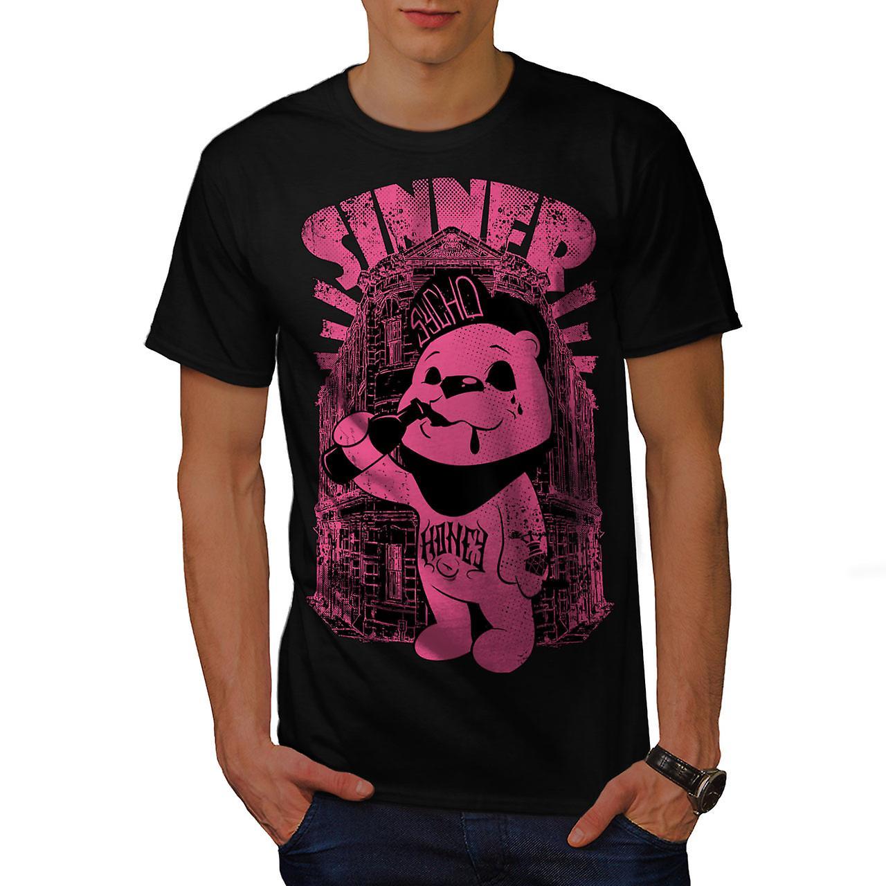 Sinner Teddy Ted Bear Men Black T-shirt | Wellcoda