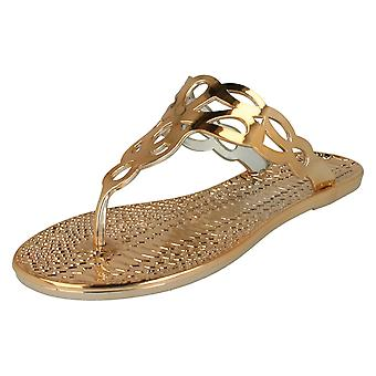 Ladies Spot On Flat Toepost Crocodile Pattern Sandal F0800