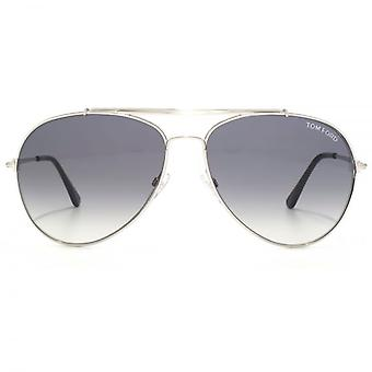 Tom Ford Indiana Pilot Sunglasses In Shiny Rhodium
