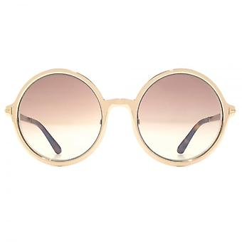 Tom Ford Ava 02 Sunglasses In Shiny Rose Gold Brown Mirror