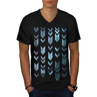 Arrow Cool Design Men BlackV-Neck T-shirt | Wellcoda
