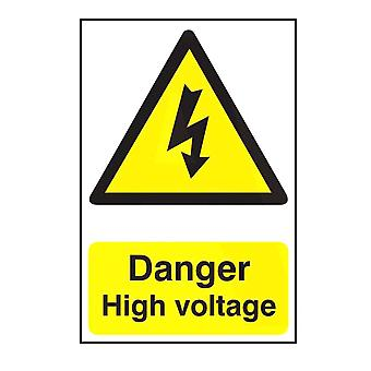 ASEC `Danger High Voltage` 200mm X 300mm PVC Self Adhesive Sign