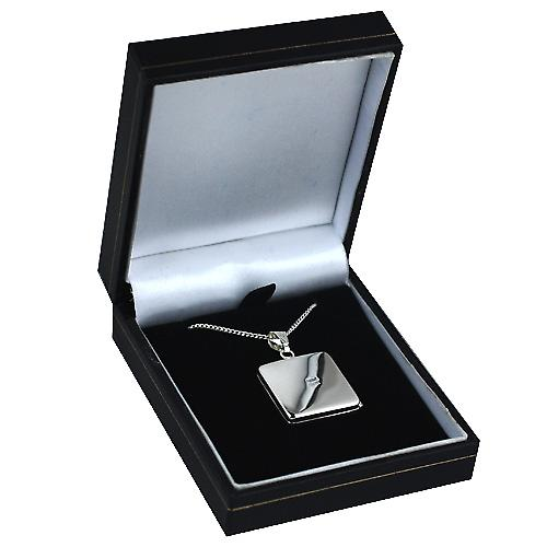 Silver 22mm engraved flat square Locket with Curb chain