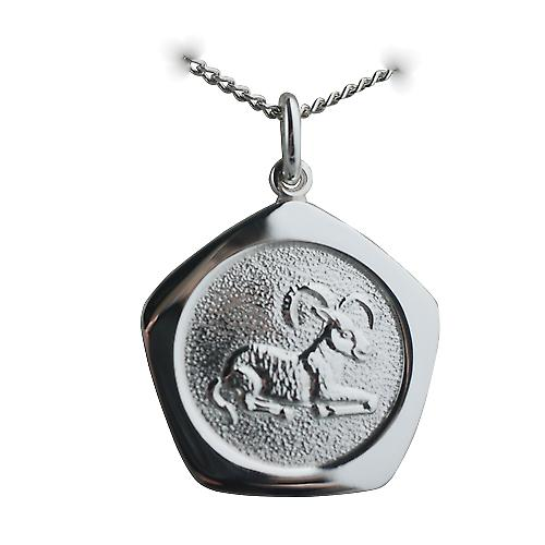 Silver 21mm five sided Aries Zodiac Pendant with a curb Chain 24 inches