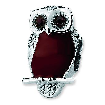 Sterling Silver Polished Antique finish Reflections Brown Enameled Wise Owl Bead Charm