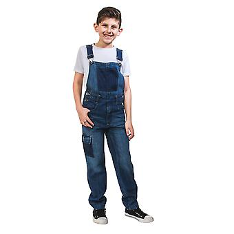 USKEES Kids Deconstructed Denim Dungarees Age 4-14 Loose Fit Girls Boys Bib Over