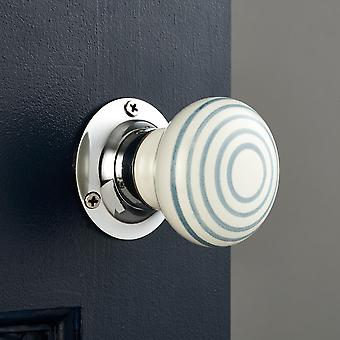 White and Grey Stripe Ceramic Mortice Door Knobs
