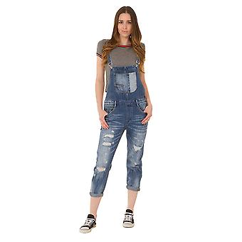 Destroyed Denim Dungarees - Stonewash Paint splatter Bib Overall Reg fit