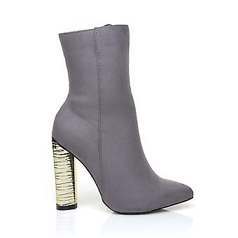 GOLDIE Grey Micro Suede Ankle Boots with Stacked Gold Block High Heel