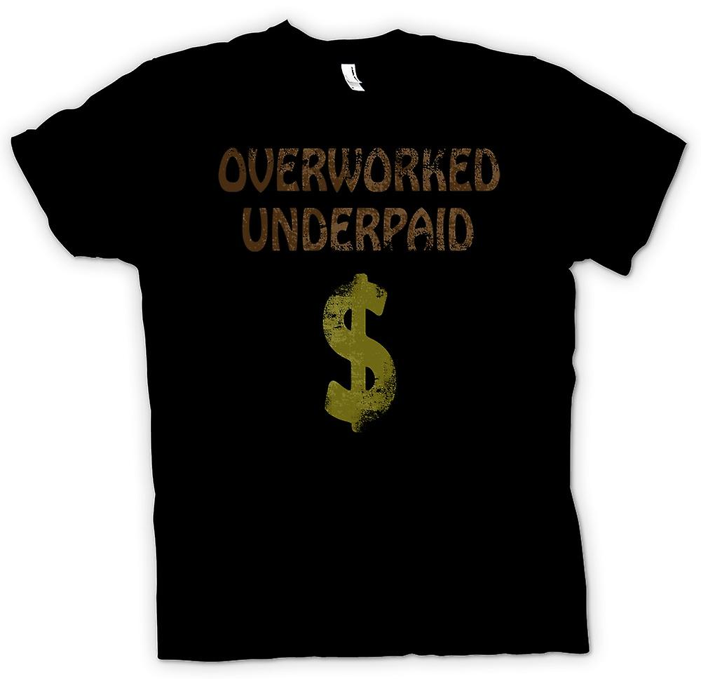 Mens T-shirt - Overworked Underpaid - Funny