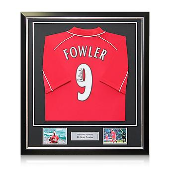 Robbie Fowler Back Signed 2001 Liverpool Shirt. In Deluxe Black Frame With Silver Inlay