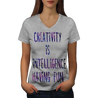 Creative Intelligence Women GreyV-Neck T-shirt | Wellcoda