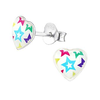 Stars - 925 Sterling Silver Colourful Ear Studs