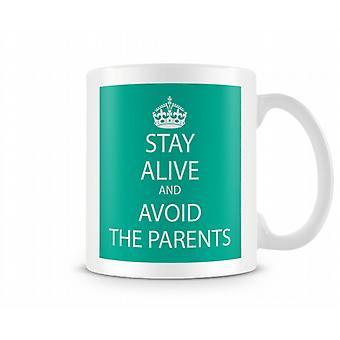 Mantener la calma y evitar la taza impresa de los padres