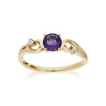 Gemondo 9ct Yellow Gold Amethyst & Diamond Classic Dress Solitaire Ring