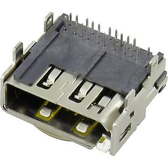 HDMI connector Socket, horizontal mount Number of pins: 19 Conrad Components 1 pc(s)