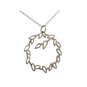 Gemshine - damer - halsband - hängsmycken - GARLAND - 925 Silver - lotusblommor - blad - 3,5 cm