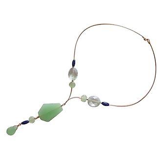 Gemshine - ladies - collana - placcato oro - acquamarina - sfaccettato - blu - verde - 60 cm
