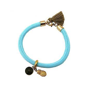 Smoky quartz - OWL - blue - Brown - gemstone - gold-plated ladies - bracelet-