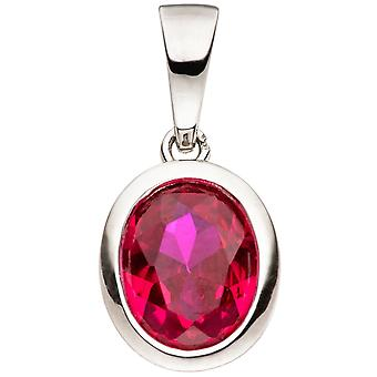 Trailer oval 925 sterling silver 1 cubic zirconia red Silver Pendant