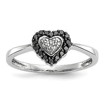 Sterling Silver Polished Prong set Open back Gift Boxed Rhodium-plated Rhodium Plated Black and White Diamond Heart Ring