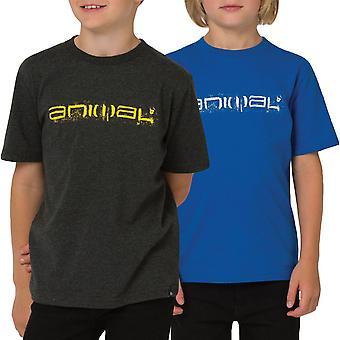 Djur pojkar skissartad logotyp Kortärmad Crew Neck T-Shirt Tee Top