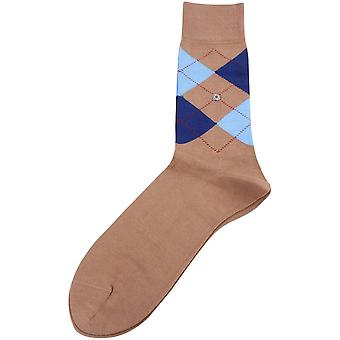 Burlington Manchester Socks - Brown/Navy/Light Blue