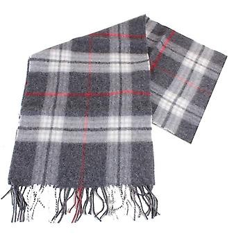 Bassin and Brown Sarracenia Tartan Wool Scarf - Grey/Red/White