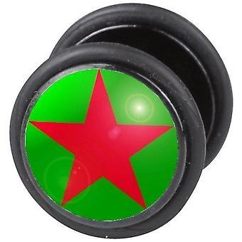 Falske snyder øret Plug, ørering, krop smykker, grøn - rød stjerne
