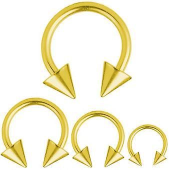 Circular Barbell Hufeisen Piercing 1,6 mm, vergoldete Spikes | Durchmesser 8-14 mm
