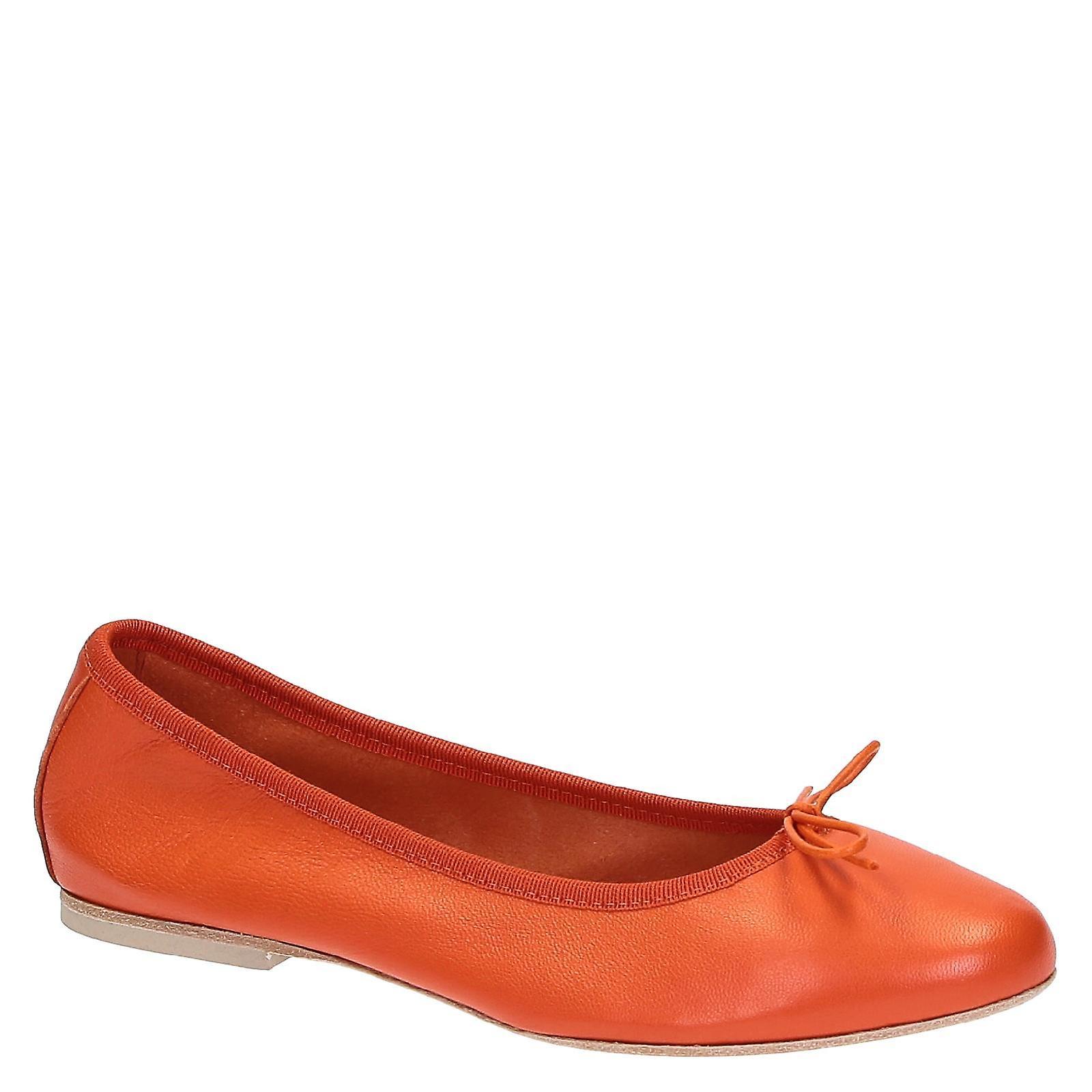 Handmade Orange soft leather ballet flats ballerinas chaussures