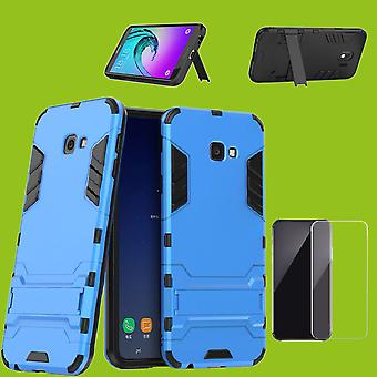 For Samsung Galaxy J4 plus J415F metal case TPU style hybrid silicone light blue + 0.26 mm 2.5 d H9 tempered glass bag case cover sleeve
