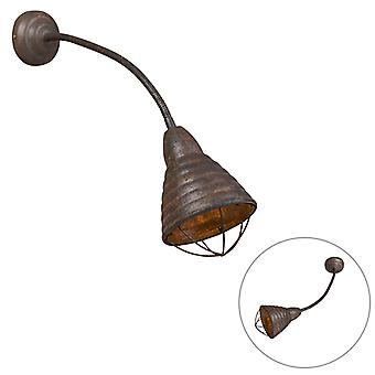 QAZQA Industrial Wall Lamp Weathered Rust with Flexible Arm - Manhattan