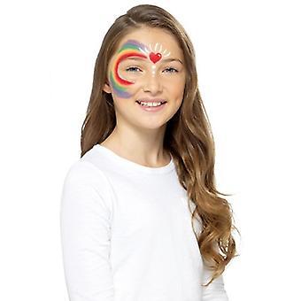 Rainbow children makeup make UP FX Carnival Schminke Rainbow face paint