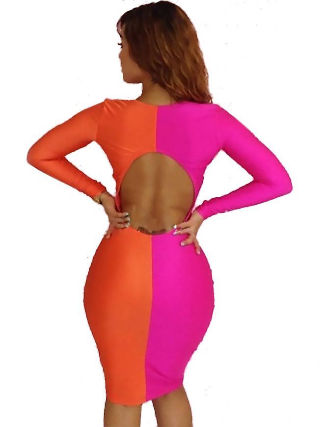 Waooh - mode - klänning tvåfärgade urringning