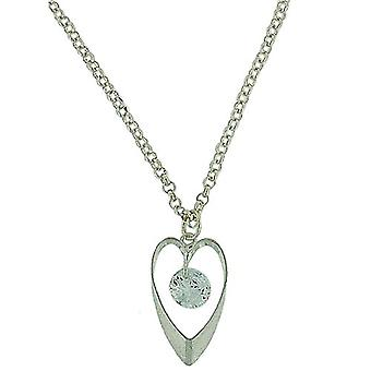 Park Lane Silvertone Glass Stone Heart Pendant Necklace 16