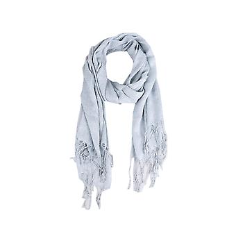 Lovemystyle Silver Lightweight Scarf With Fringe Detail