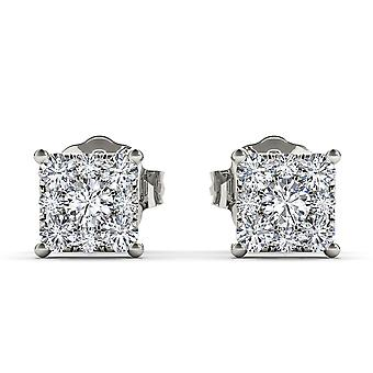 IGI Certified Solid 10k White Gold 0.50 Ct Diamond Stud Earrings Pushbacks
