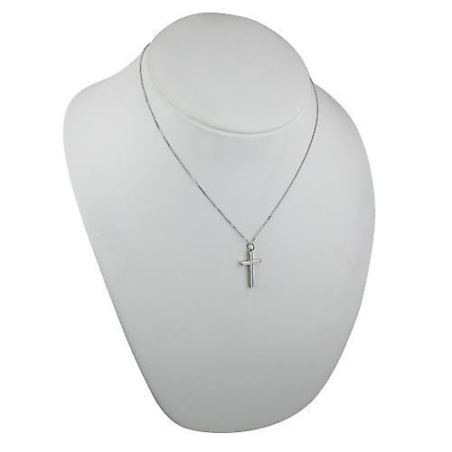 9ct White Gold 25x15mm engine turned lined border solid block Cross with a curb Chain 18 inches